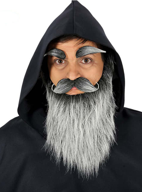 Barba, bigote y cejas de anciano grises para hombre