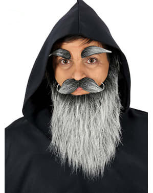 Barbă, mustață și sprâncene de bătrân gri pentru bărbat
