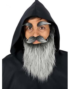 Barba, bigode e sobrancelhas de idoso cinzentas para homem