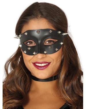 Czarna maska na oczy z ćwiekami dla dorosłych