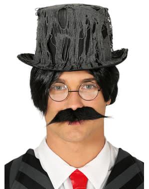 Czarny kapelusz pokryty pajęczyną dla mężczyzn