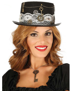 Black steampunk hat for adults