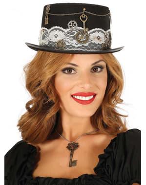 Sort steampunk top hat til voksne