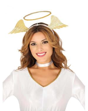 Diadema de ángel dorada para mujer