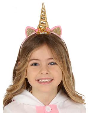 Bandolete de unicórnio dourada para menina