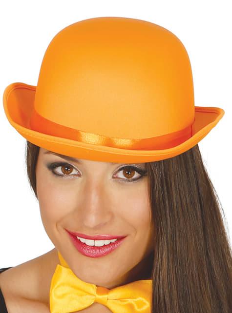 Orange bowler hat til voksne