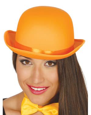 Chapéu de coco cor de laranja para adulto