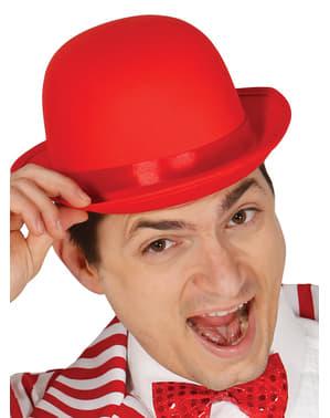 Chapeau melon rouge adulte