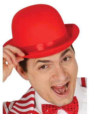 Red bowler hat for adults