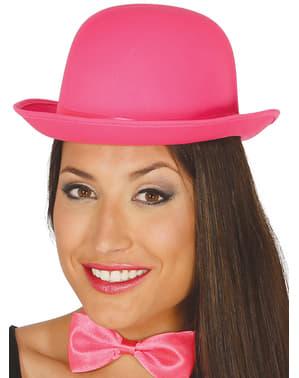 Chapéu de coco cor-de-rosa para adulto