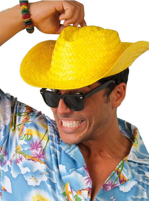 Sombrero de vaquero amarillo para adulto
