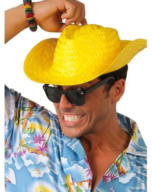 Cappello da cow boy giallo con piume per adulto