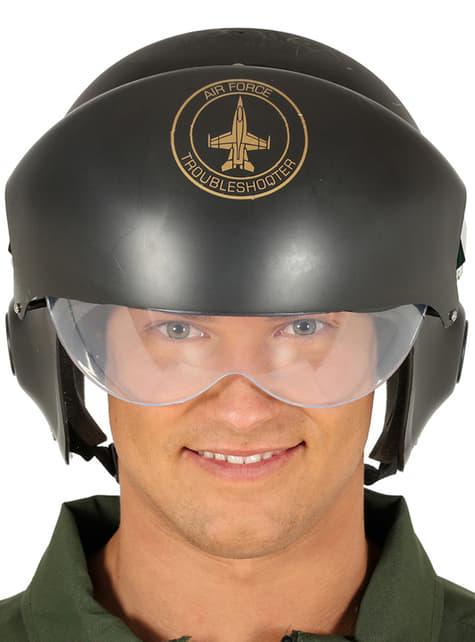 Casco de piloto de caza verde para adulto