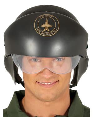 Groene straaljager piloot helm voor volwassenen