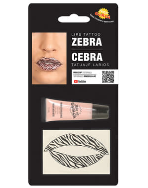 Zebra lips tattoo for adults