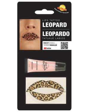 Luipaard lip tattoo voor volwassenen