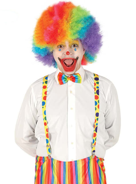 Multicoloured clown suspenders for adults