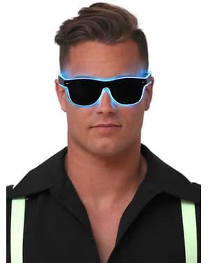 Óculos de néon azul com luz para adulto