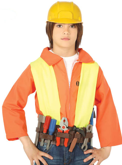 Cinto de ferramentas e capacete infantil