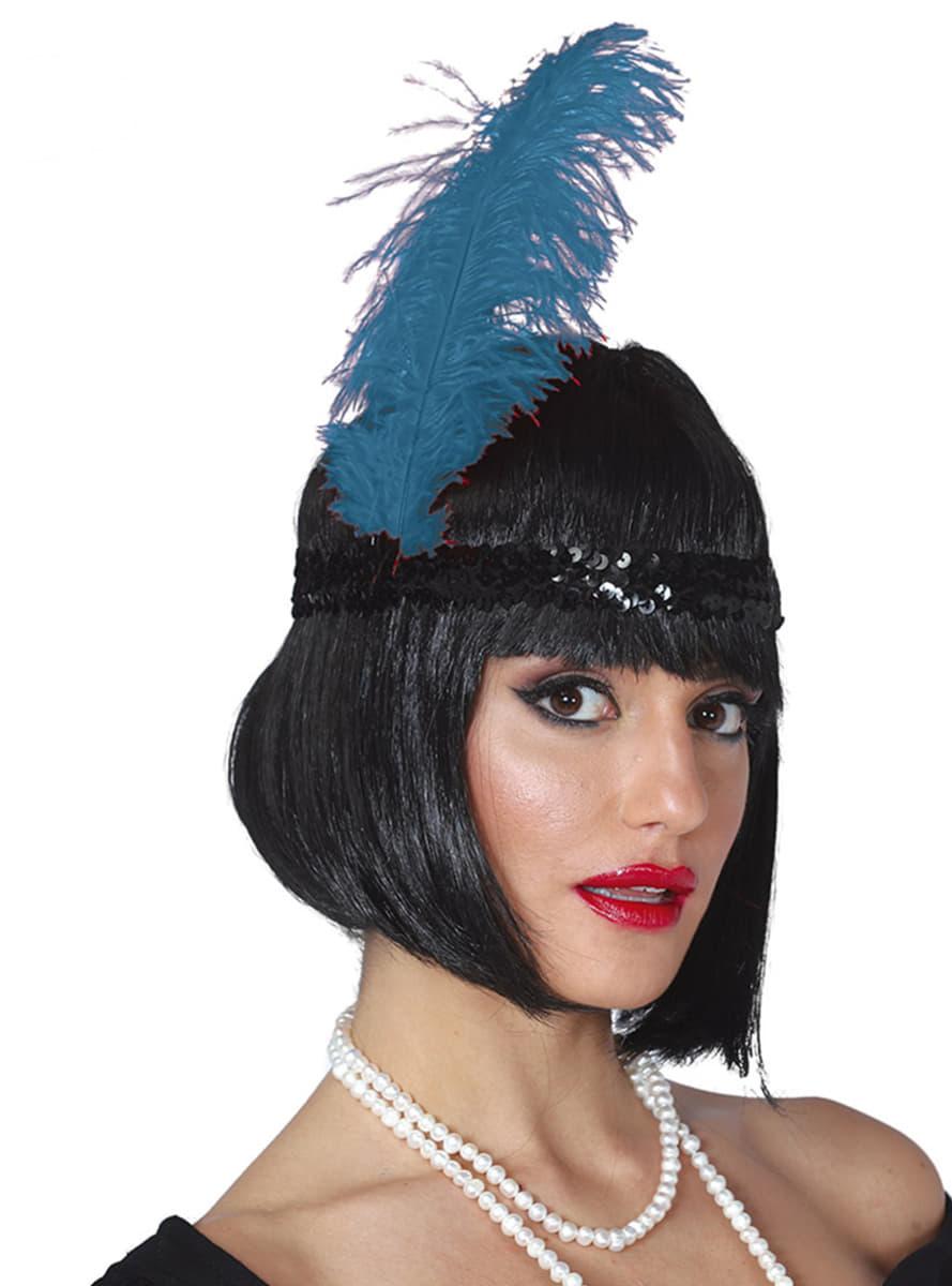 Dámská kabaretní čelenka s pštrosími pery modrá. Detalle  Zoom f561a34edf