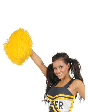 Yellow cheerleader pom poms for adults