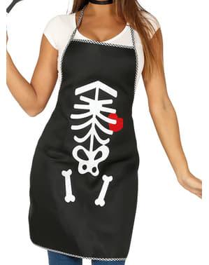 Black skeleton apron
