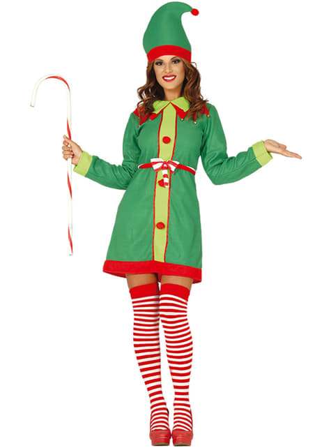 Disfraz de elfo navideño verde para mujer