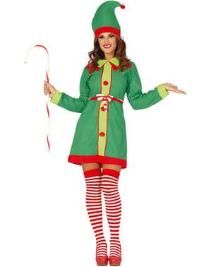 Fato de elfo natalício verde para mulher
