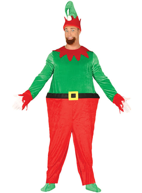 Green elf with a big belly costume for men