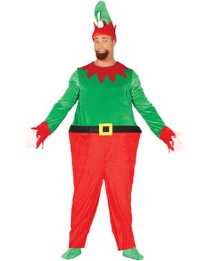 Elf mit dickem Bauch Kostüm grün für Herren