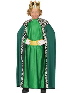 Fato de rei mago natalício verde para menino