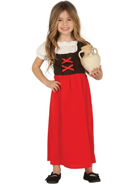 Disfraz de posadera rojo para niña