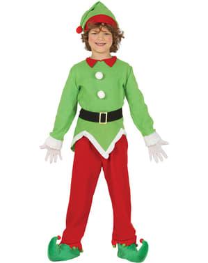 Fato de elfo natalício verde infantil