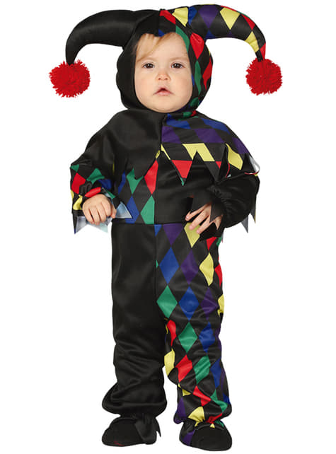 Bebekler için siyah palyaço kostümü