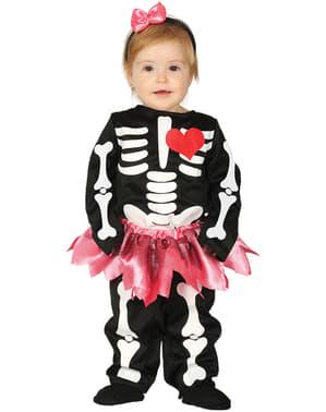 Fato de esqueleto com tutu para bebé