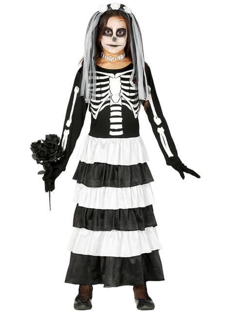 Disfarce de noiva esquelética de Halloween para menina