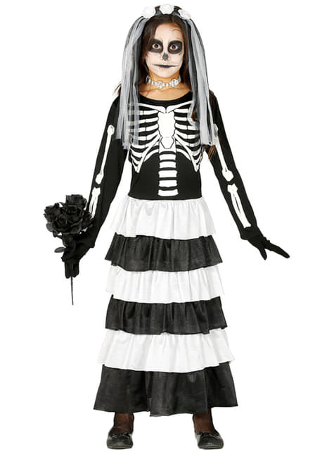 Skeleton bride costume for girls