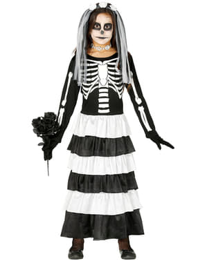 Disfraz de novia halloween esquelética para niña