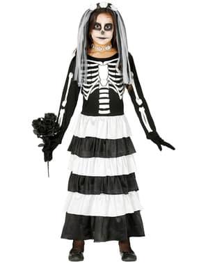 女の子用ハロウィン骸骨花嫁衣装