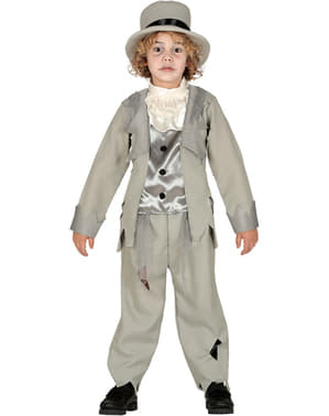 Szary Strój Pan Młody Zombie dla chłopców