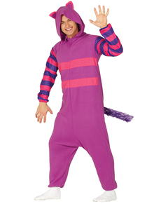 Purple mischievous cat onesie costume for adults