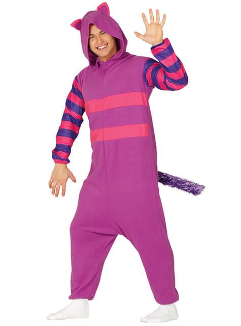 Purple mischievous cat onesie costume for adults