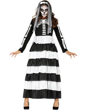 女性のためのハロウィンスケルトン花嫁衣装