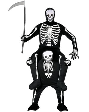 Huckepack Kostüm Skelett auf Sensenmann