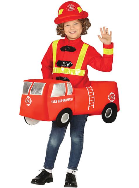 Disfraz de bombero en camión infantil