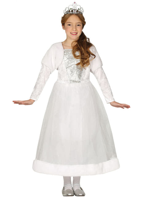 Hvit prinsesse kostyme til jenter
