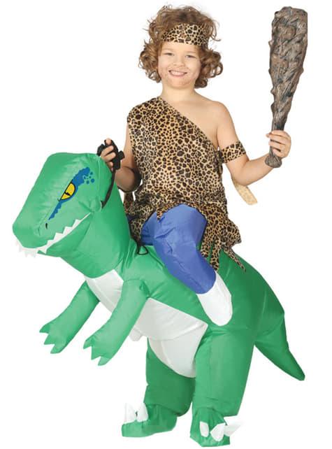 Fato de dinossauro ride on insuflável infantil