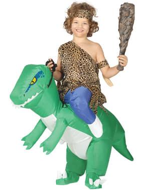 Disfarce às costas de dinossauro insuflável para criança