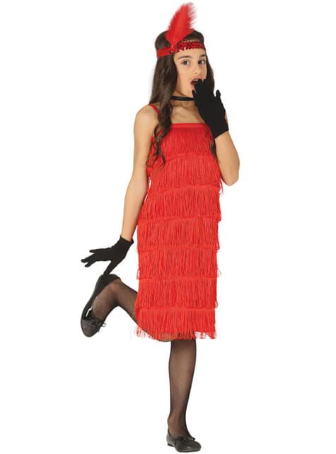 Disfraz de charlestón rojo años 20 para niña