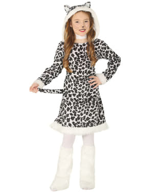 Costum de leopard alb pentru fată
